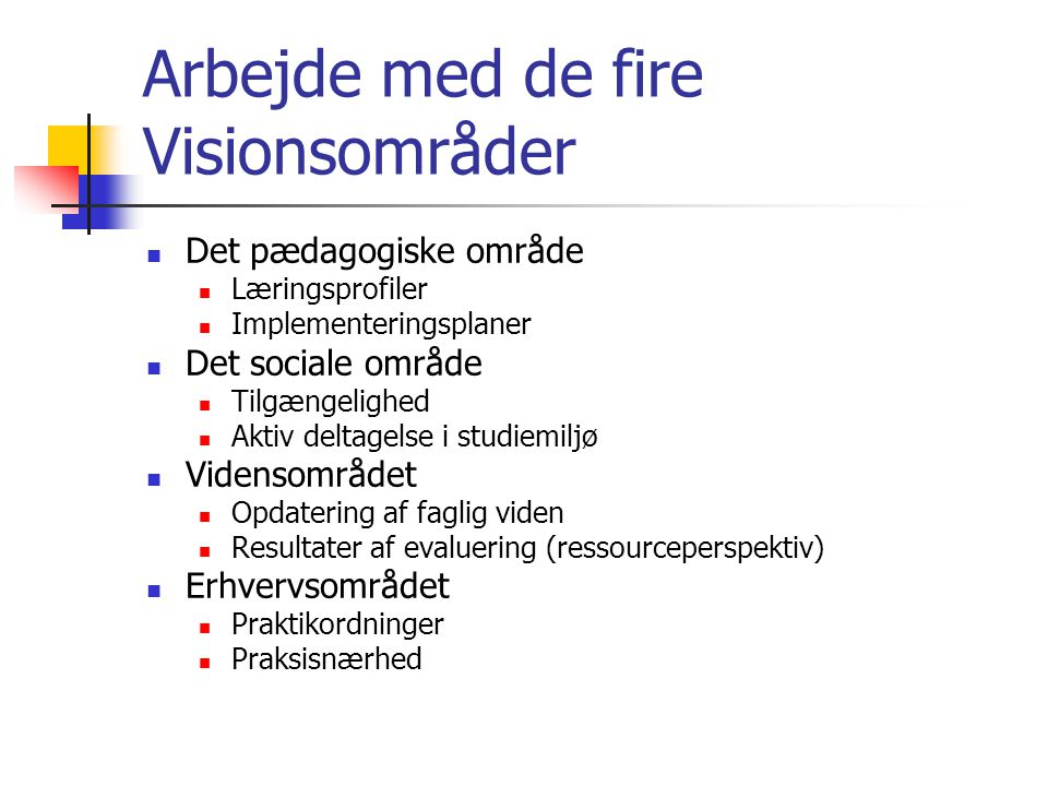 Arbejde med de fire Visionsområder