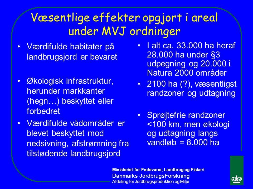 Væsentlige effekter opgjort i areal under MVJ ordninger
