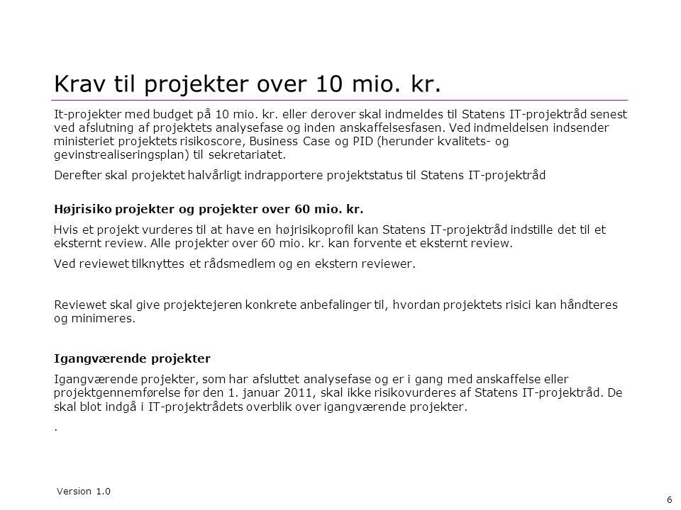 Krav til projekter over 10 mio. kr.