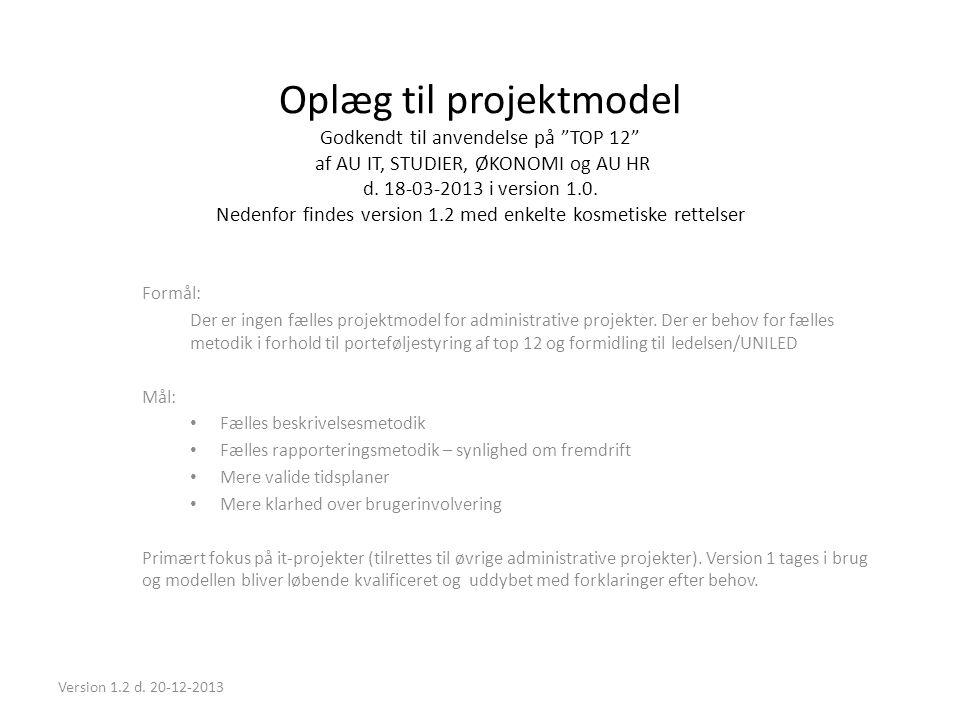 Oplæg til projektmodel Godkendt til anvendelse på TOP 12 af AU IT, STUDIER, ØKONOMI og AU HR d. 18-03-2013 i version 1.0. Nedenfor findes version 1.2 med enkelte kosmetiske rettelser