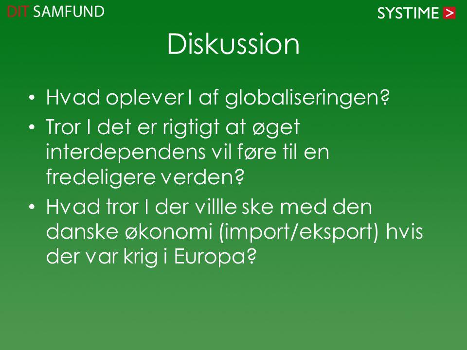 Diskussion Hvad oplever I af globaliseringen