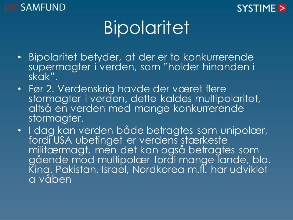 Bipolaritet Bipolaritet betyder, at der er to konkurrerende supermagter i verden, som holder hinanden i skak .