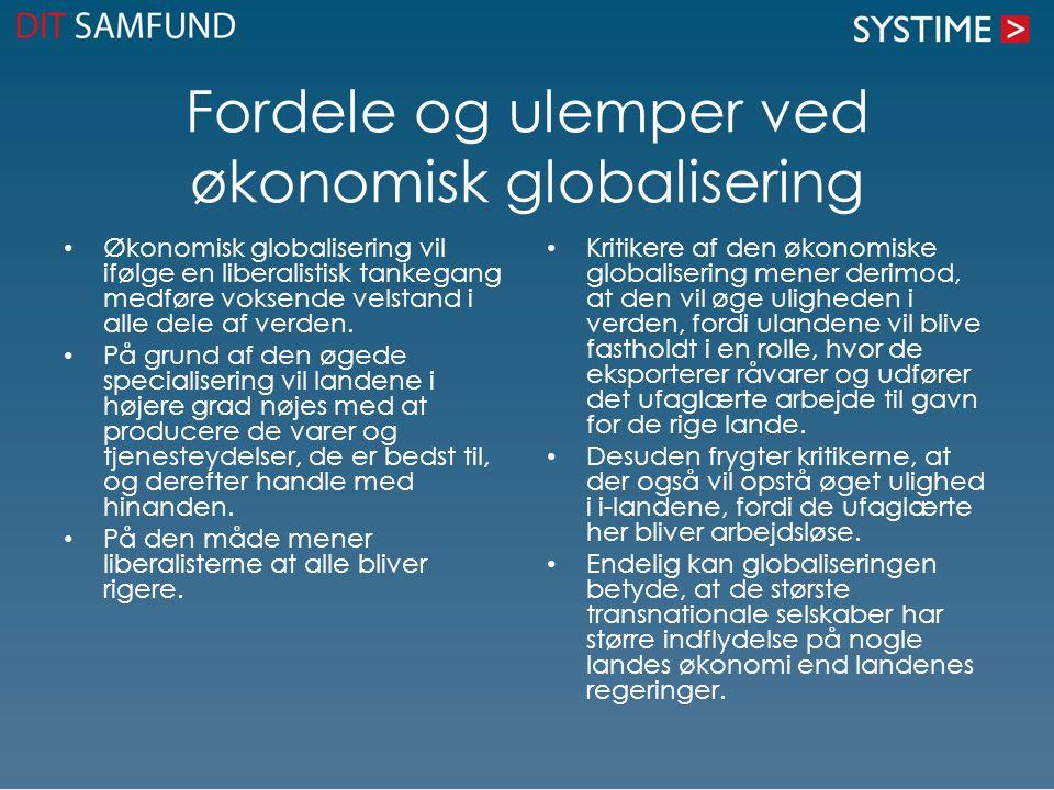 Fordele og ulemper ved økonomisk globalisering