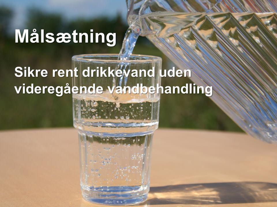 Målsætning Sikre rent drikkevand uden videregående vandbehandling