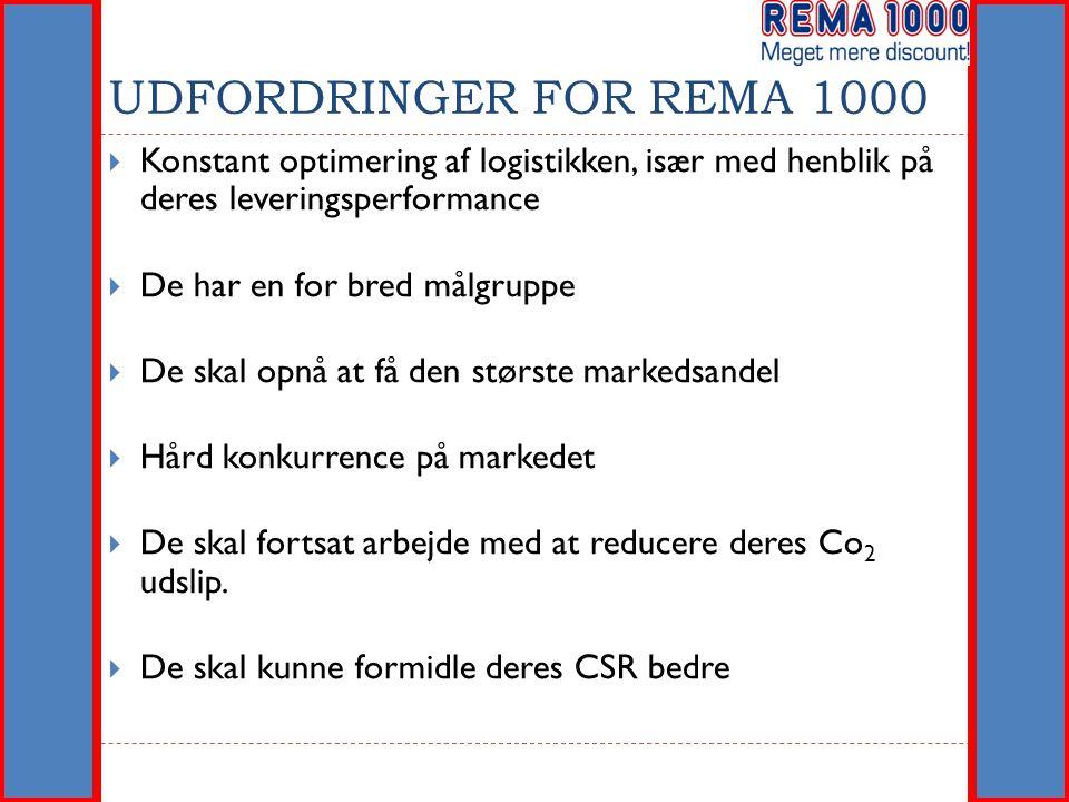UDFORDRINGER FOR REMA 1000 Konstant optimering af logistikken, især med henblik på deres leveringsperformance.