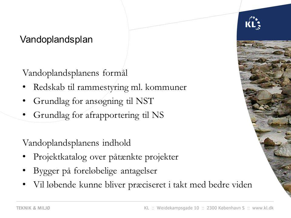 Vandoplandsplan Vandoplandsplanens formål. Redskab til rammestyring ml. kommuner. Grundlag for ansøgning til NST.