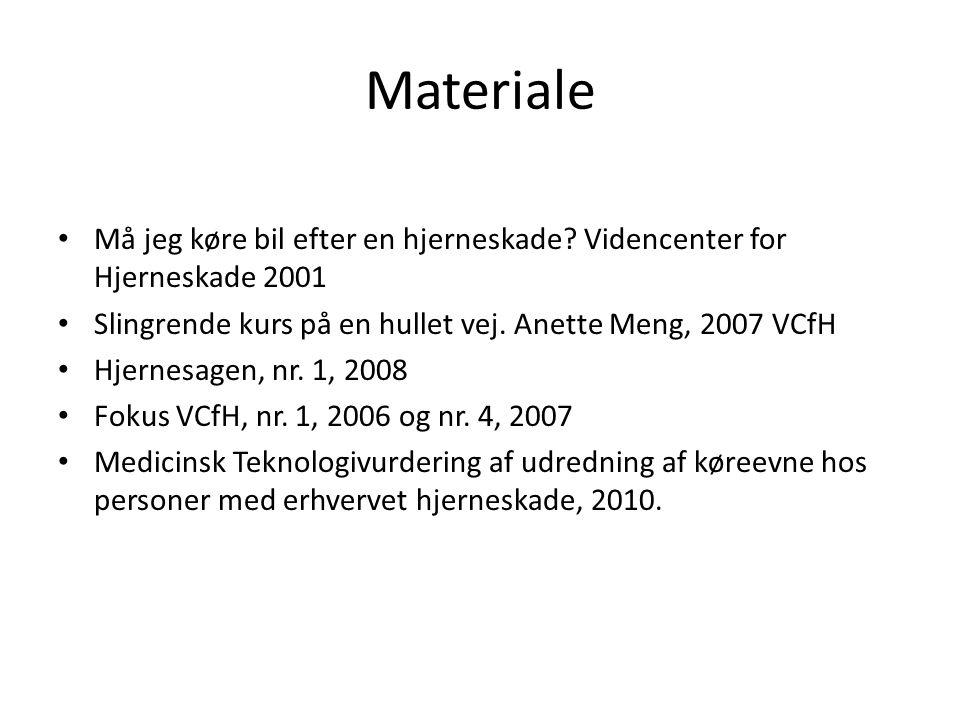Materiale Må jeg køre bil efter en hjerneskade Videncenter for Hjerneskade 2001. Slingrende kurs på en hullet vej. Anette Meng, 2007 VCfH.