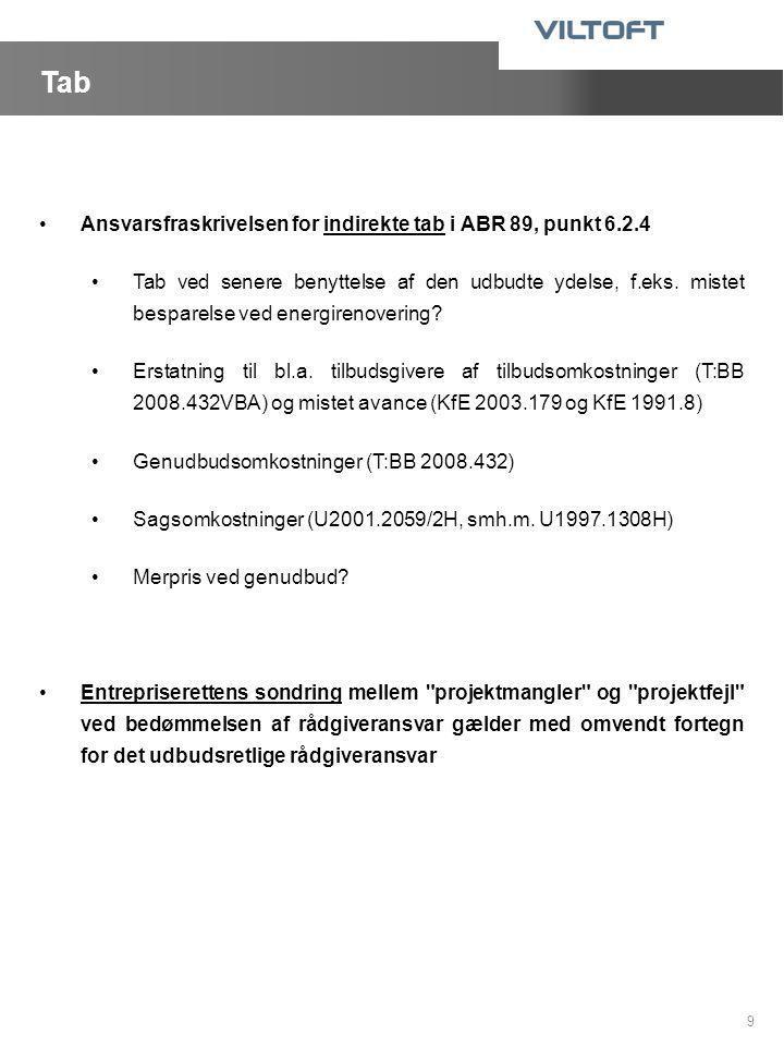 Tab Ansvarsfraskrivelsen for indirekte tab i ABR 89, punkt 6.2.4