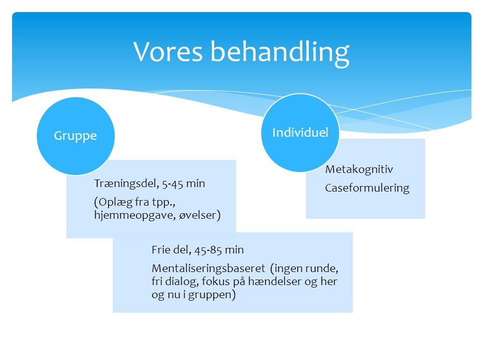 Vores behandling Individuel Gruppe Metakognitiv Caseformulering