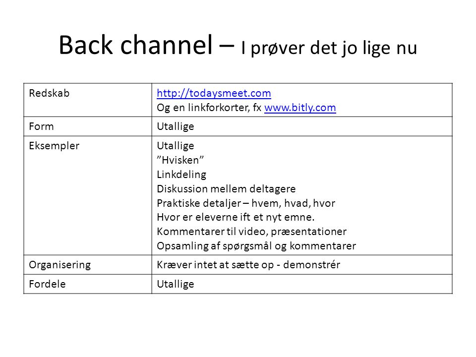 Back channel – I prøver det jo lige nu