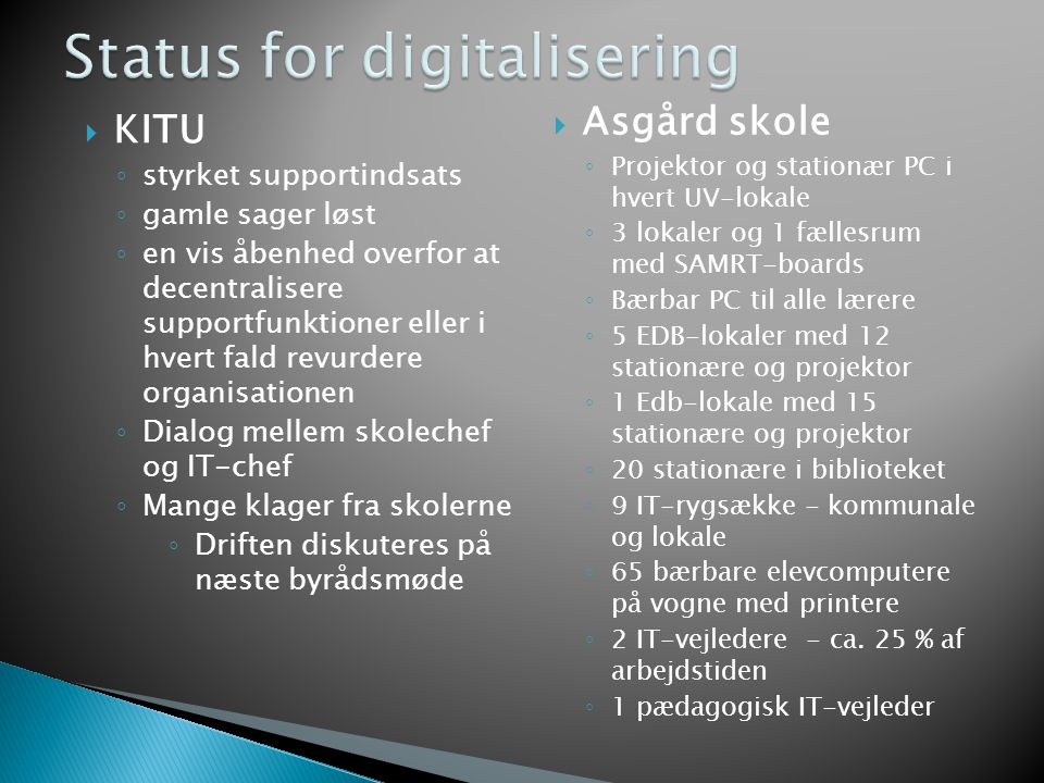 Status for digitalisering