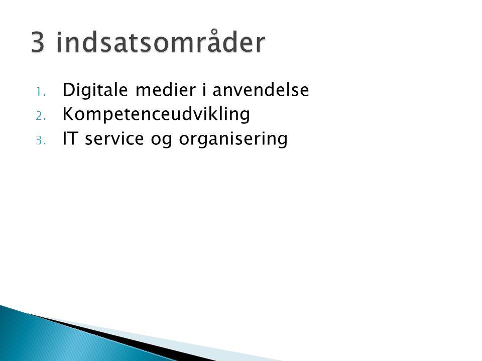3 indsatsområder Digitale medier i anvendelse Kompetenceudvikling