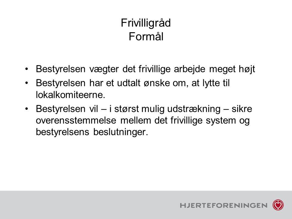 Frivilligråd Formål Bestyrelsen vægter det frivillige arbejde meget højt. Bestyrelsen har et udtalt ønske om, at lytte til lokalkomiteerne.