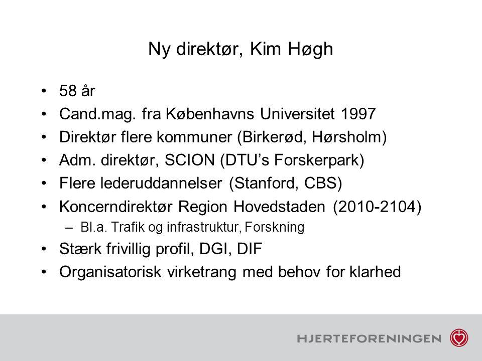 Ny direktør, Kim Høgh 58 år Cand.mag. fra Københavns Universitet 1997