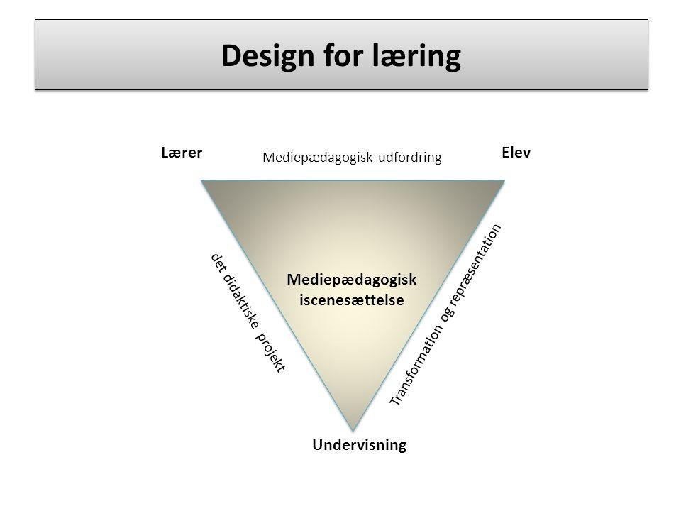 Design for læring Lærer Elev Mediepædagogisk iscenesættelse