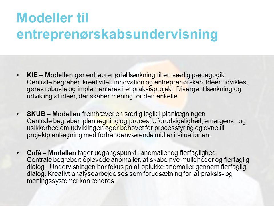 Modeller til entreprenørskabsundervisning