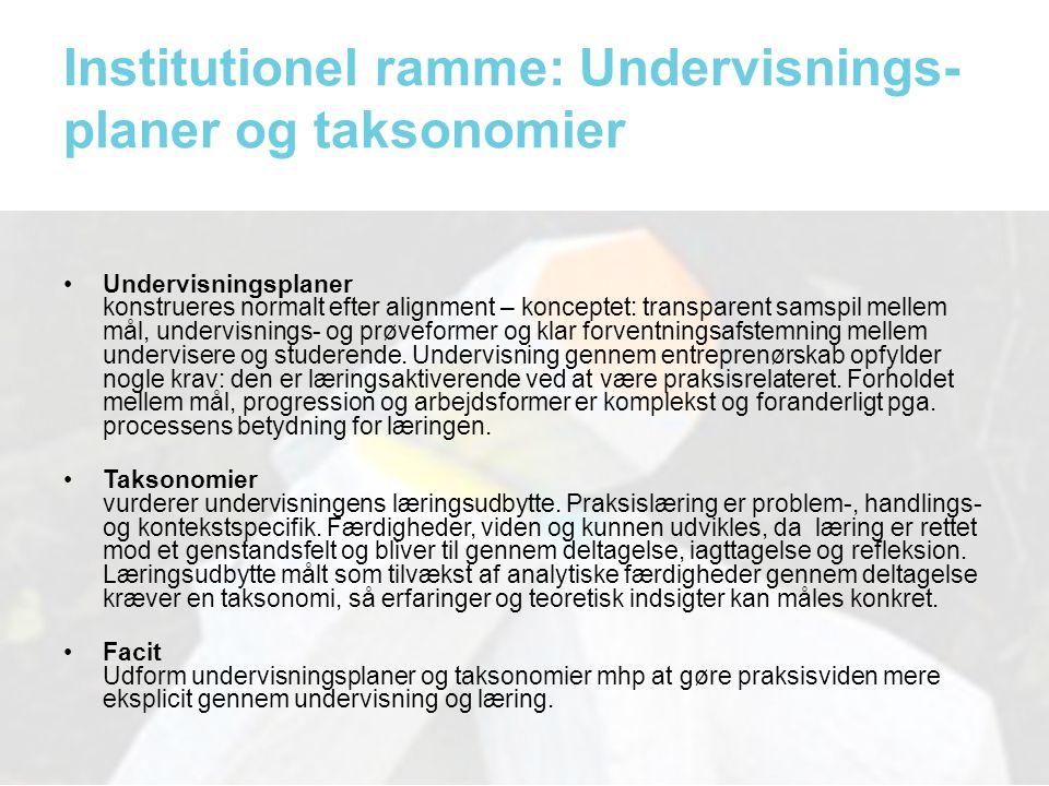 Institutionel ramme: Undervisnings-planer og taksonomier