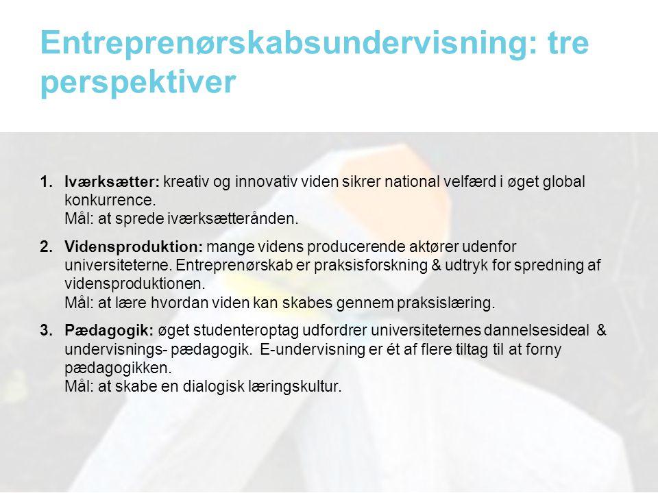 Entreprenørskabsundervisning: tre perspektiver