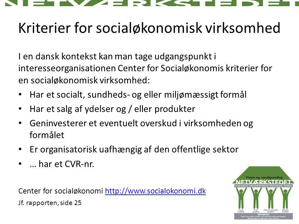 Kriterier for socialøkonomisk virksomhed
