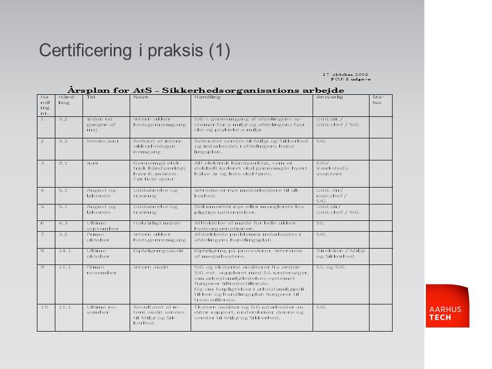 Certificering i praksis (1)