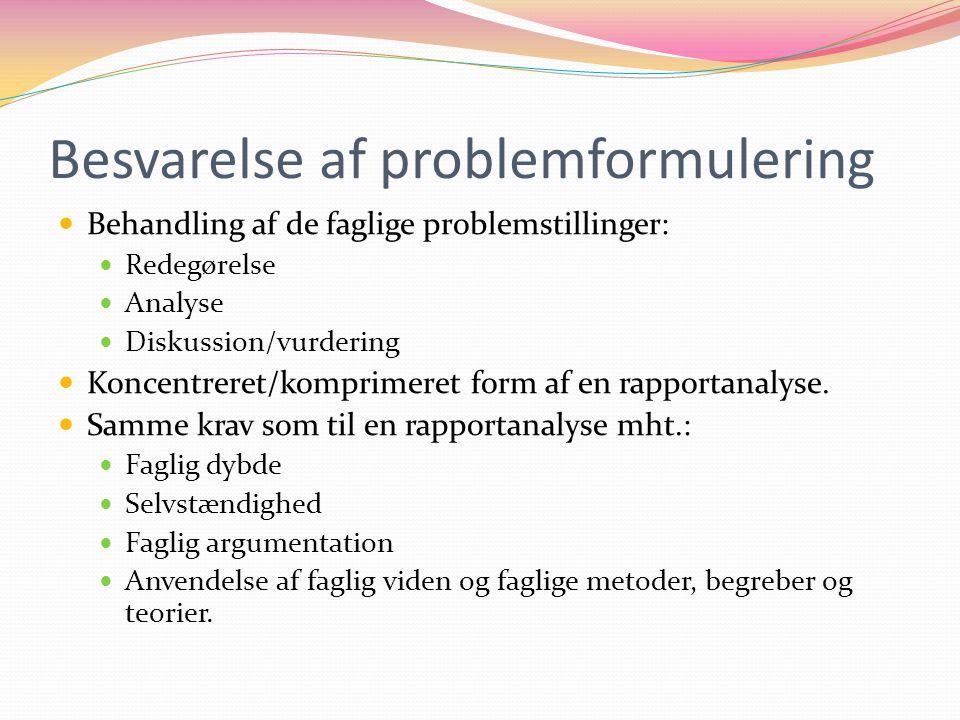 Besvarelse af problemformulering