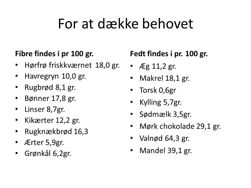 For at dække behovet Fibre findes i pr 100 gr.