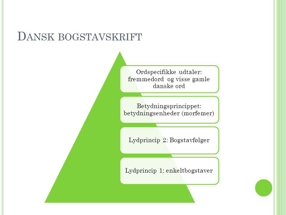 Dansk bogstavskrift Ordspecifikke udtaler: fremmedord og visse gamle danske ord. Betydningsprincippet: betydningsenheder (morfemer)