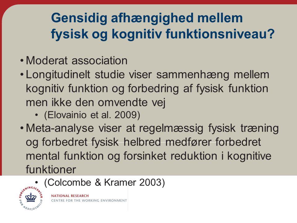 Gensidig afhængighed mellem fysisk og kognitiv funktionsniveau