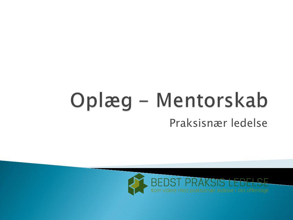 Oplæg - Mentorskab Praksisnær ledelse