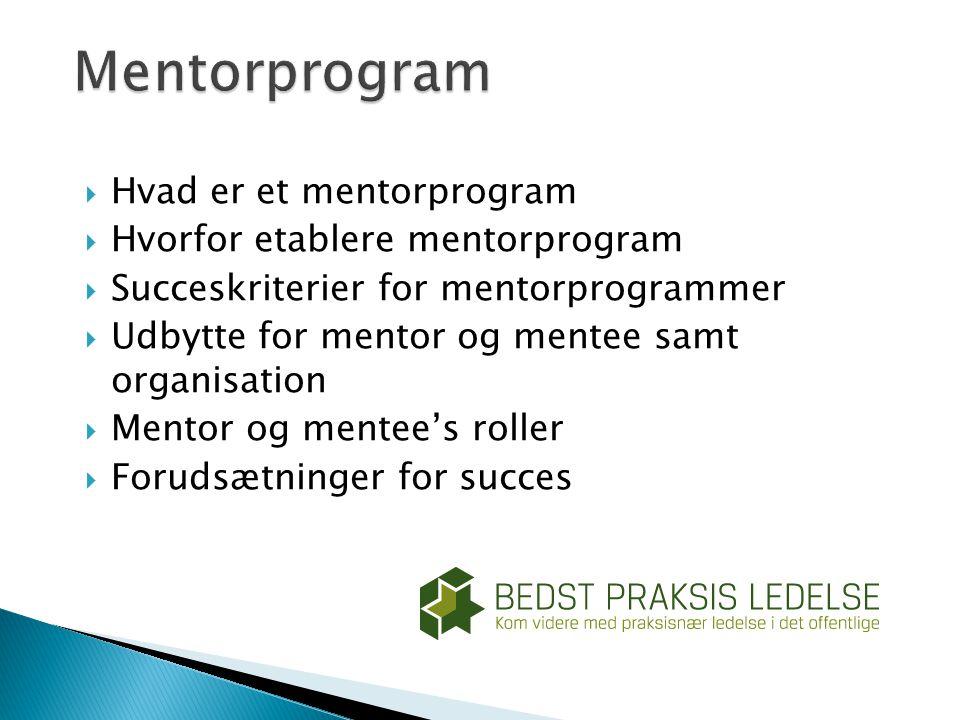 Mentorprogram Hvad er et mentorprogram Hvorfor etablere mentorprogram