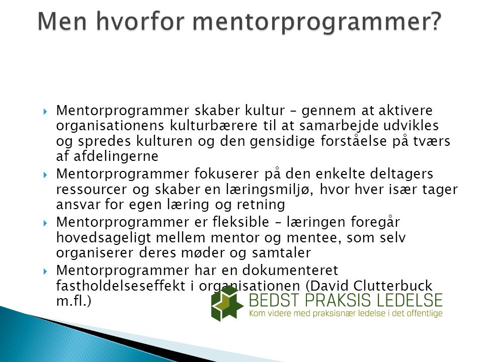 Men hvorfor mentorprogrammer