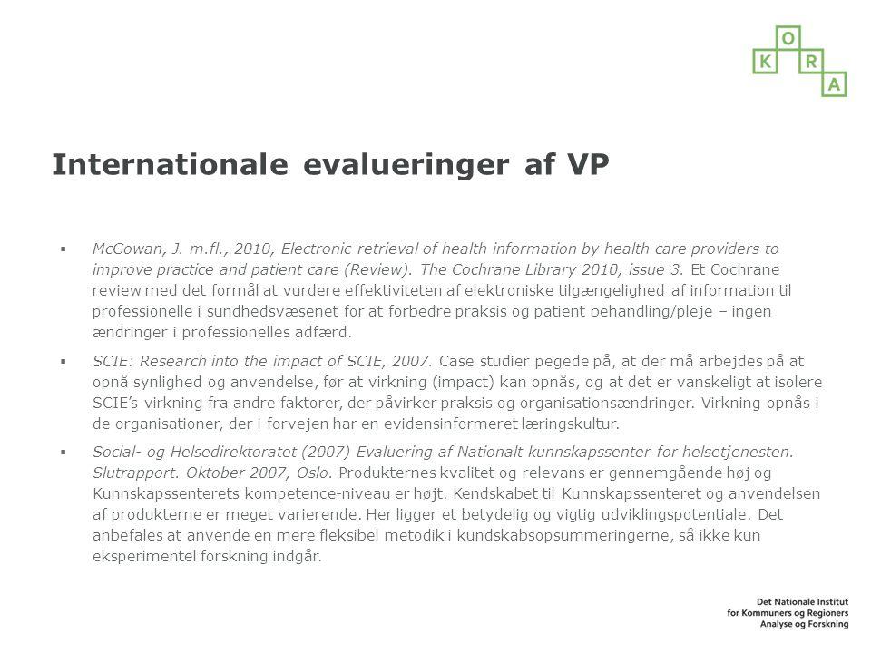 Internationale evalueringer af VP