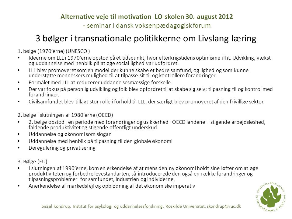 3 bølger i transnationale politikkerne om Livslang læring