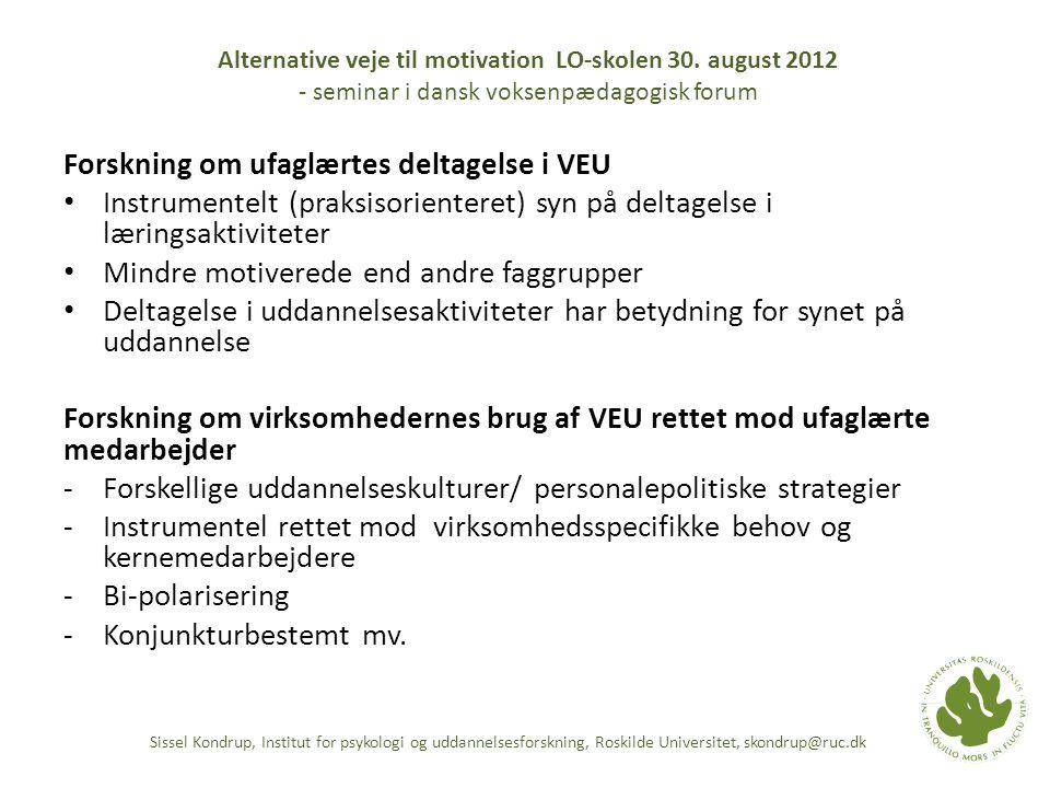 Forskning om ufaglærtes deltagelse i VEU