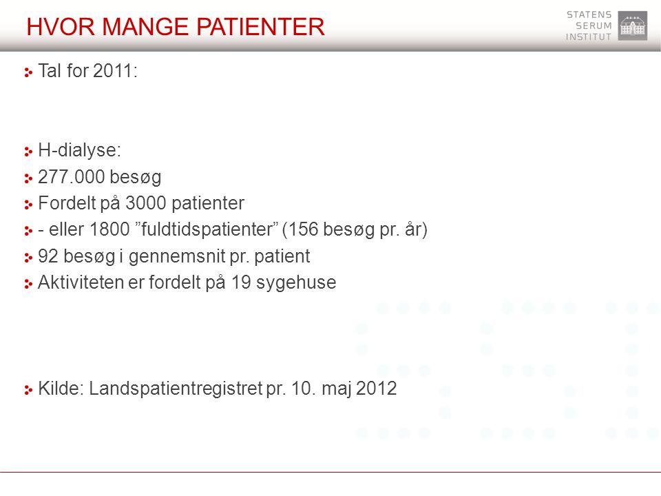 Hvor mange patienter Tal for 2011: H-dialyse: 277.000 besøg