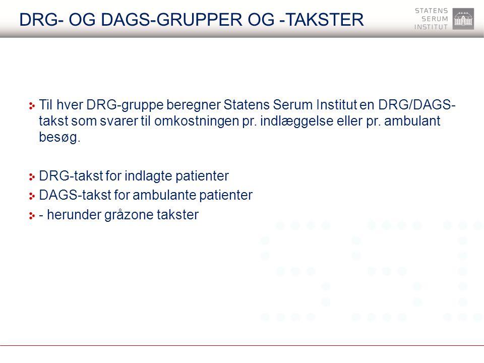 DRG- og DAGS-grupper og -takster