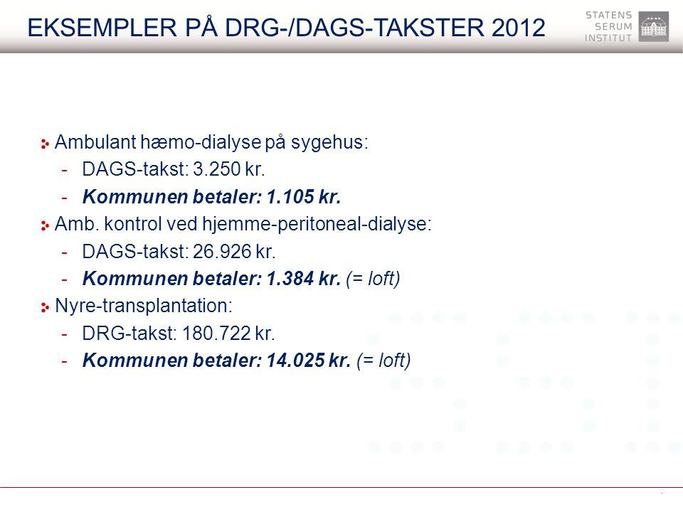 Eksempler på DRG-/DAGS-takster 2012