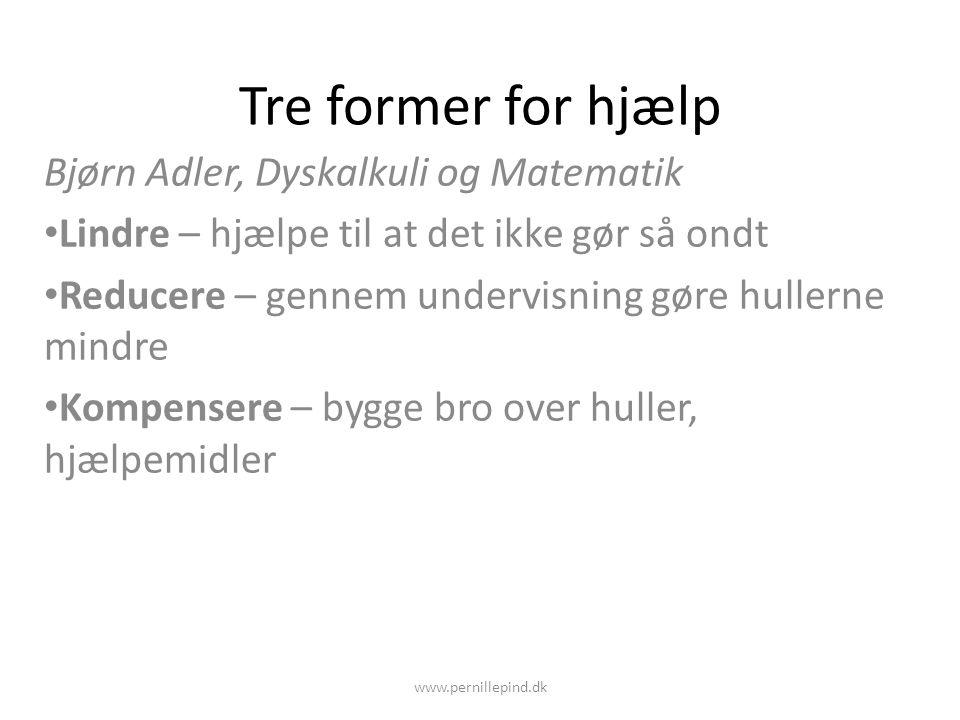 Tre former for hjælp Bjørn Adler, Dyskalkuli og Matematik