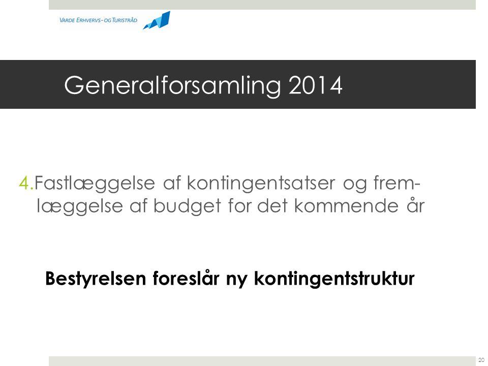 Generalforsamling 2014 4.Fastlæggelse af kontingentsatser og frem- læggelse af budget for det kommende år.