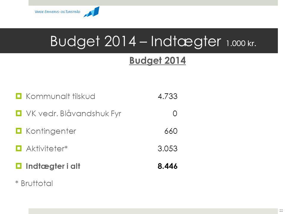 Budget 2014 – Indtægter 1.000 kr. Budget 2014 Kommunalt tilskud 4.733