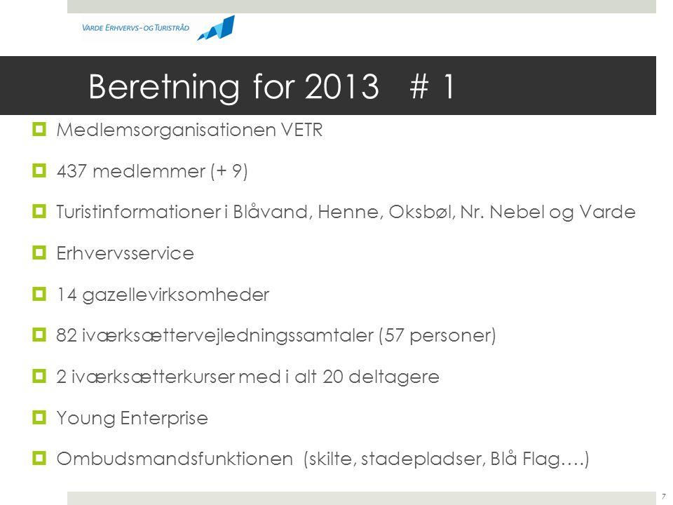 Beretning for 2013 # 1 Medlemsorganisationen VETR 437 medlemmer (+ 9)