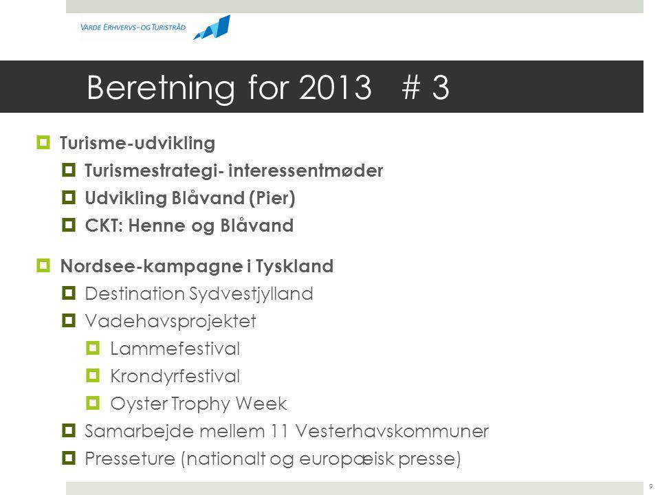 Beretning for 2013 # 3 Turisme-udvikling