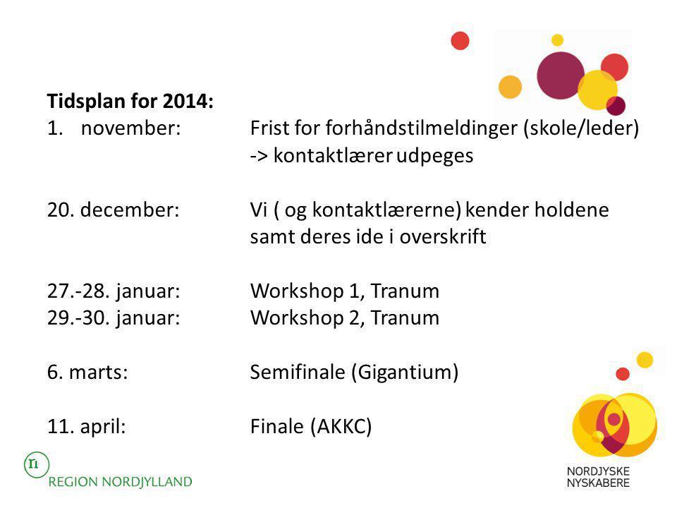 Tidsplan for 2014: november: Frist for forhåndstilmeldinger (skole/leder) -> kontaktlærer udpeges.