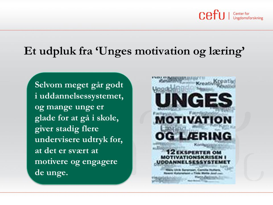 Et udpluk fra 'Unges motivation og læring'