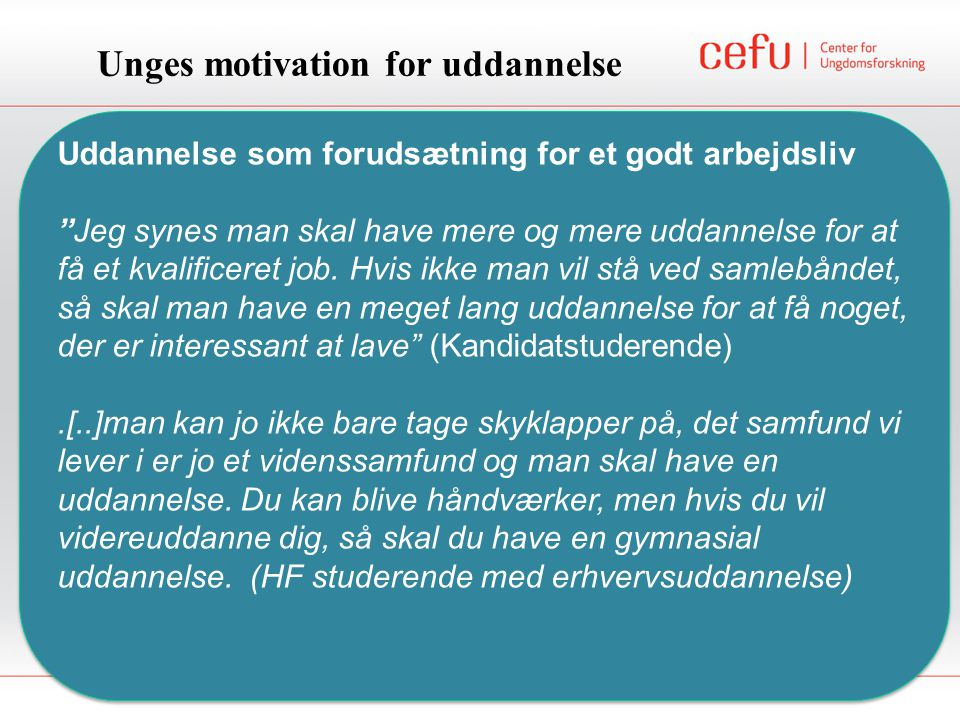Unges motivation for uddannelse
