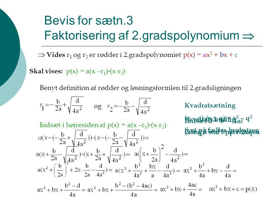 Bevis for sætn.3 Faktorisering af 2.gradspolynomium 
