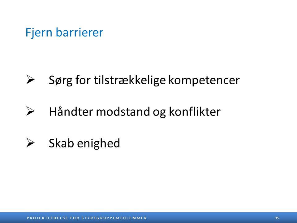 Fjern barrierer Sørg for tilstrækkelige kompetencer Håndter modstand og konflikter Skab enighed