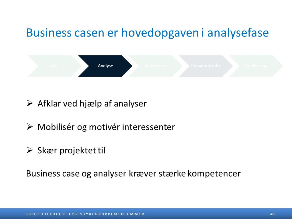 Business casen er hovedopgaven i analysefase