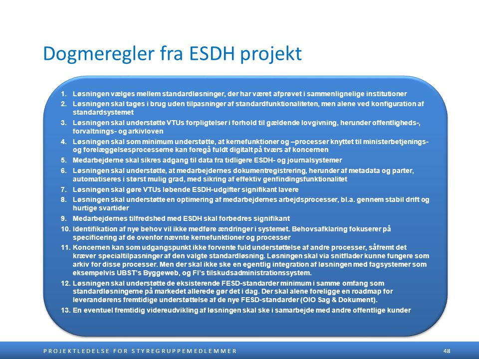 Dogmeregler fra ESDH projekt