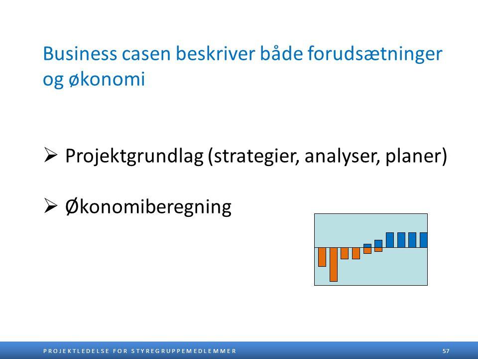 Business casen beskriver både forudsætninger og økonomi